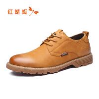 红蜻蜓真皮男鞋春秋新款正品男士英伦休闲鞋男商务皮鞋子断码清仓