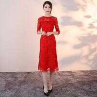 敬酒服新娘新款礼仪旗袍红色长款晚礼服结婚蕾丝回门服显瘦连衣裙