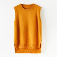 秋冬韩版圆领羊毛针织背心女修身百搭无袖打底毛衣坎肩外穿马甲短