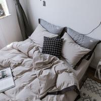 北欧ins风水洗刺绣床上用品四件套全棉纯棉简约1.8床单床笠三件套