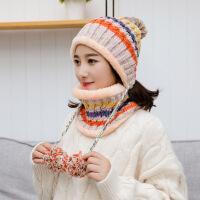 韩版女士帽子针织加绒加厚出游毛球帽子秋冬女护耳冬天保暖潮百搭