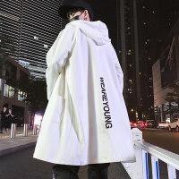 男士披风衣外套中长款秋冬季加绒加厚休闲大衣薄款bf原宿