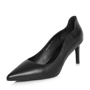 BASTO/百思图2018春季专柜同款牛皮通勤尖头浅口细高跟女单鞋A8056AQ8