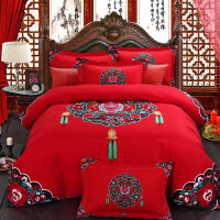 婚庆四件套 纯棉磨毛结婚床上用品新婚床品大红色1.8m床被套