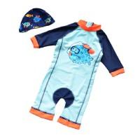 儿童泳衣连体防晒男童温泉服长袖泳装0-1-3岁宝宝婴儿游泳衣