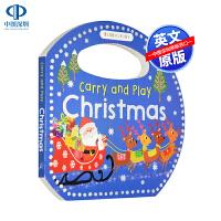英文原版 Christmas 关于圣诞节主题绘本 低幼儿童早教英语启蒙造型读物 Carry and Play系列纸板书