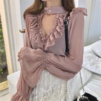 洋气小衫女春装2018新款雪纺衫女夏喇叭袖遮肚子显瘦上衣
