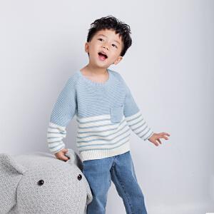 秋冬季新品女童长袖圆领套头毛衣宽松男宝宝蓝条纹口袋针织衫