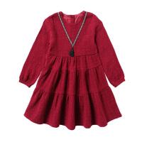 女童长袖连衣裙礼服春新年中大儿童装岁韩版洋气公主裙纯棉 酒红色 偏大,按实际拍