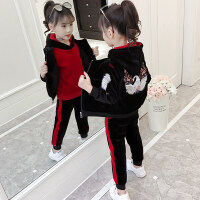 童装女童冬装三件套2018新款时尚刺绣加厚洋气小女孩儿童运动套装