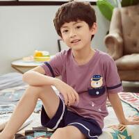 儿童睡衣夏季短袖男童夏天薄款中大童小孩男孩家居服套装夏天