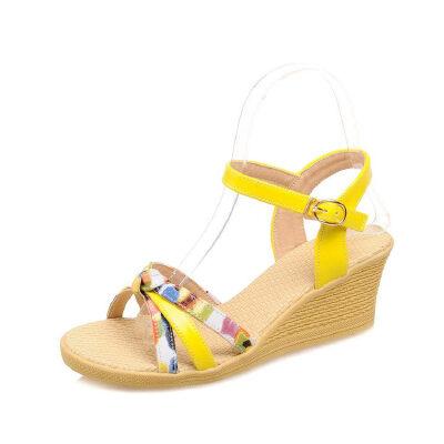 WARORWAR法国 2019新品YGM-D9509春夏欧美坡跟女鞋潮流时尚潮鞋百搭潮牌凉鞋女
