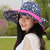 帽子夏天韩版女士遮阳帽防晒防紫外线户外沙滩帽大沿可折叠太阳帽