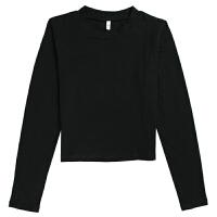 秋冬打底小衫女紧身长袖T恤漏肚脐高腰短款修身露脐小心机婊上衣