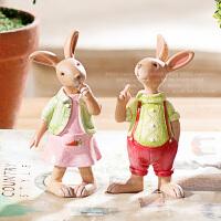 奇居良品 创意圣诞礼品礼物家居装饰品 可爱萌兔子树脂摆件糖果系
