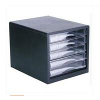 得力 五层文件柜(无锁) 9775桌面资料整理收纳柜 塑料抽屉柜 办公用品