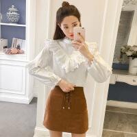 白色衬衫女长袖春季新款韩版时尚蕾丝拼接宽松显瘦娃娃衫上衣学生