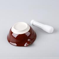 W日式陶瓷研磨碗配磨棒捣蒜器胡椒磨粉碗婴儿辅食磨药碗碾磨器O 研磨碗+陶棒+刷+分离器