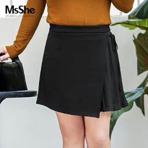 MsShe加大码女装2017新款胖mm冬装不规则拼接百褶半身裙M1640065