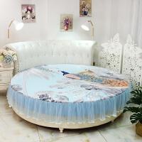 订做纯棉圆床床笠单件 圆床床单四件套圆形床罩床垫防滑保护套 孔雀蓝 纯棉比翼双飞磨毛 2.