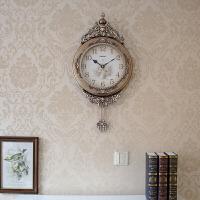 欧式挂钟客厅创意摆钟静音时尚复古壁钟装饰钟表时钟家庭挂钟 16英寸