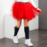 【全场2件2.5折,到手价:55】米喜迪mecity童装女童秋装新款字母腰网纱半身裙