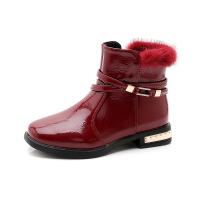 №【2019新款】冬天小朋友穿的女童短靴靴女韩版百搭儿童马丁靴加绒女童鞋二棉靴