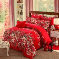 磨毛四件套加厚大红结婚床单枕套被套婚庆全棉纯棉2.01.81.5