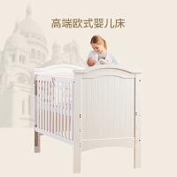 婴儿床实木欧式多功能宝宝床新生儿拼接大床bb床儿童床a371 典雅白