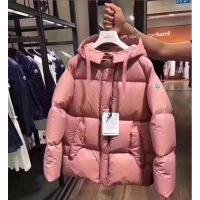 2018冬季新款m蒙家羽绒服女短款加厚保暖面服藕粉色斗篷款外套 藕粉色