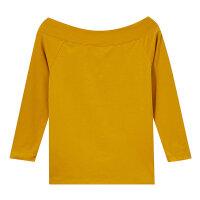 【1件3折到手价:35.7】美特斯邦威七分袖T恤女士修身上衣一字领心机打底衫秋装新款