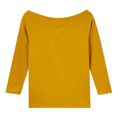 【全场2件2.5折,到手价:29.8】美特斯邦威七分袖T恤女士修身上衣一字领心机打底衫秋装新款 新年换新衣,过年不打烊!!!