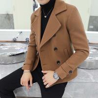 冬季新款夹克男双排扣小西装领呢子外套韩版修身男装