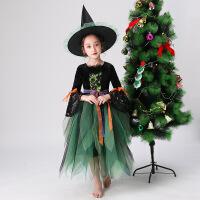 万圣节服装儿童演出服女巫婆角色女童表演公主裙化妆舞会女孩礼服