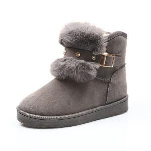 WARORWAR新品YM154-701冬季欧美磨砂反绒平底舒适女士雪地靴