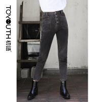 初语秋季新款牛仔裤女高腰宽松复古显瘦单排扣直筒裤黑色长裤