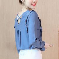 雪纺衫蕾丝秋天上衣长袖2018女士秋装新款韩版百搭打底衫洋气小衫