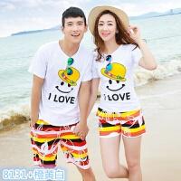情侣装夏装海边度假沙滩短裤2018韩版婚纱照学生短袖T恤套装