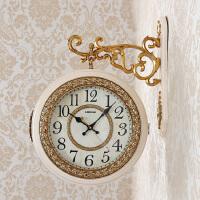 欧式挂钟客厅现代静音双面钟简约美式两面钟表田园复古创意石英钟