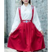 2018 新品性感民国学生装班服校服改良汉服中国风古装服装绣花背带半身裙套装女时尚潮流 红色 套装