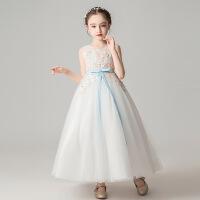 女童婚纱礼服白色无袖连衣裙子夏季儿童蓬蓬纱公主裙大童表演出服