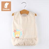 威尔贝鲁(WELLBER)婴儿饭兜儿童无袖反穿衣新生儿罩衣