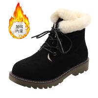 2018新款冬季雪地靴加绒系带马丁靴女韩版学生平底毛毛保暖棉短靴SN0097 黑色 加绒
