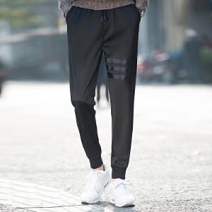 松紧腰男士休闲裤青年系带束脚运动裤宽松小脚裤子男潮-GA1013