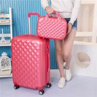 行李箱万向轮旅行箱小清新242628寸登机箱女行李箱 玫红色 (子母箱)