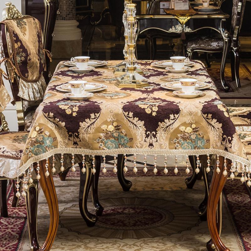 欧式餐桌布套装布艺电视柜桌布客厅家用茶几垫长方形美式桌垫   本品可在茶几餐桌电视柜等地方使用,绣花工艺耐磨耐脏可机洗!
