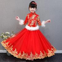 女童长袖新年装拜年服中国风加厚旗袍裙儿童古筝演出服宝宝唐装冬 红色
