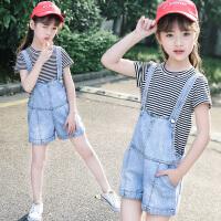 女童牛仔背带裤套装夏季洋气儿童条纹T恤短裤两件套