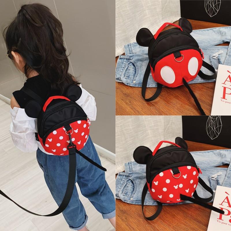 小孩包包可爱米奇女宝宝婴幼儿牵引绳防走失双肩包小背包时尚书包