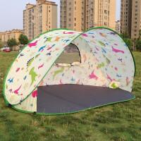 全自动沙滩户外帐篷3-4人速开快开简易遮阳钓鱼公园休闲帐篷 恐龙图案有门+防潮垫
